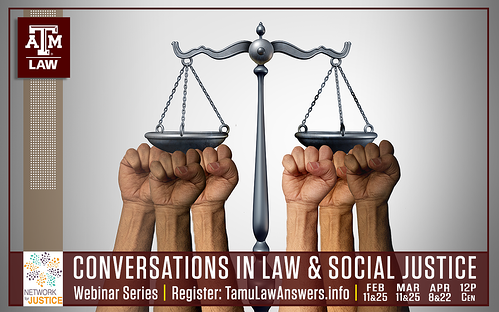 law and social justice webinar series graphic